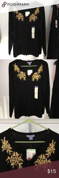 Laura Scott embroidered cardigan Never worn, brand new. Smoke free environment, originally purchased at Macy's. Laura Scott Sweaters Cardigans