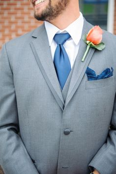 Classic Gray Suit with Blue Tie  | Shannon Moffit Photography | Classic and Elegant Navy Blue and Coral Nautical Wedding