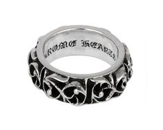 925 Silver Cross Chrome Hearts Decorated Style Band Ring