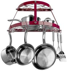 Range Kleen 2 Shelf Wall Mount Pot Rack, Red: Wall Mount Red Wrought Iron Pot Rack to easily store cookware and tools. Accommodates all kitchens. Includes complete installation hardware and instructions. Pot Rack Hanging, Hanging Pots, Pot Hooks, Hanging Baskets, Hanging Organizer, Hanging Storage, Kitchen Storage, Kitchen Decor, Kitchens