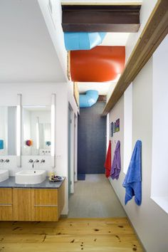 We're in love with this kids' bathroom. And the upside? There's plenty of space for their friends.
