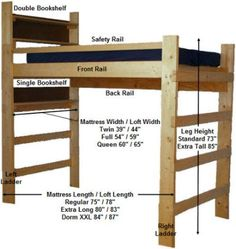 full size for loft bed plans ideas photograph Build A Loft Bed, Loft Bed Plans, Loft Plan, College Loft Beds, Lofted Dorm Beds, Bunk Beds, Woodworking Plans, Woodworking Projects, Woodworking Workshop