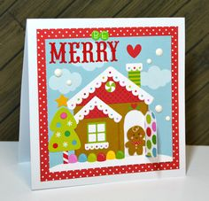 Be Merry - Scrapbook.com - Adorable scene on this Christmas card created with Doodlebug products.