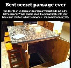 storm shelter/panic room/secret hid out in the kitchen island! Best secret passage ever! Definitely a dream home feature! (would also be good if someone broke into your house and you had to hide somewhere)QUARTO SECRETO. Underground Storm Shelters, Underground Bunker, Underground Cellar, Secret Passage, Diy Home Security, Security Room, Security Safe, Sweet Home, Home Defense
