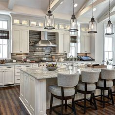 LIGHTS ARE OK. Hellooo gorgeous!!! Elevate your kitchen design and make a statement with your backsplash, counters and lighting!