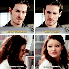 I loved seeing Belle and Hook working together. Despite the fact he's tried to kill her (twice...) and that one loves Rumple and the other hates him, they've put their differences aside to work for the better good. Also, this scene made me so sad... :(
