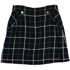 Pre-owned Kate Spade Navy & Green Plaid Wool Skirt (28.805 HUF) ❤ liked on Polyvore featuring skirts, bottoms, none, navy wool skirt, plaid skirt, green plaid skirt, navy blue skirt and green tartan skirt