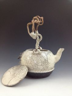 Raku teapot with Contorted Filbert handle by potter Tammy Gentuso. http://www.theclaylady.com