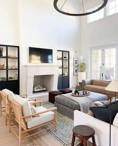 May 2020 - Shop Geoffrey Chandelier, Hale Sofa, Hackney Bridge Arm Floor Lamp, Brass Circle in Square and My Living Room, Small Living, Home And Living, Living Room Decor, Living Spaces, Large Living Rooms, Living Room Fireplace, Living Room Drapes, Barn Living