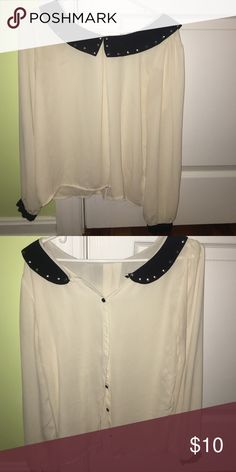 Multi wear peter pan blouse AMAZING multi wear blouse with studded collar and cuffed sleeves! Forever 21 Tops Blouses