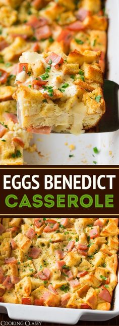 Overnight Eggs Benedict Casserole - Cooking Classy - Eggs Benedict Casserole is the perfect holiday breakfast! It's brimming with salty Canadian bacon - Breakfast Buffet, Savory Breakfast, Breakfast Items, Best Breakfast, Brunch Buffet, Overnight Breakfast Casserole, Breakfast Biscuits, Eggs Benedict Casserole, Egg Benedict