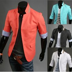 Men's Three-Quarter Sleeve Blazer with Inner Stripes Blazers For Men Casual, Men Warehouse, Pinterest For Men, Estilo Fashion, Men's Fashion, Fashion Trends, Men's Coats And Jackets, Latest Mens Fashion, Mens Suits