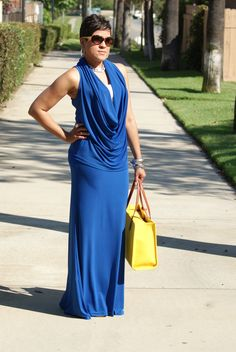 Blue with a splash of yellow accessories!