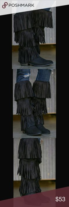 """✴SLOUCHY SUEDE FRINGE COWBOY BOOTS✴-NIB ✴Slouchy faux suede cowboy style boots ✴3 layers of fringe  ✴Mid side ziper  ✴Color is Black  ✴Shaft 16"""" from arch  ✴Heel 1.5"""" ✴Calf approximately 17 """"  ✴Slanted top style❤✌ BOTIQUE  Shoes Heeled Boots"""