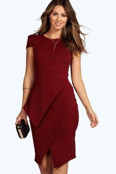 boohoo Laura Wrap Skirt Bodycon Dress