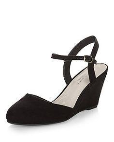 Wide Fit Black Suedette Comfort Ankle Strap Wedge Heels | New Look