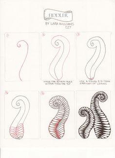 Laralina: Zentangle Pattern : Fiddler by Lara Williams, CZT Zentangle Drawings, Doodles Zentangles, Doodle Drawings, Tangle Doodle, Zen Doodle, Doodle Art, Zantangle Art, Zen Art, Doodle Patterns