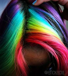 If I ever try rainbow hair, I'd go with something like this. The colors in this picture are so vibrant!
