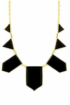House of Harlow 1960 14KT Gold Necklace with Black Resin