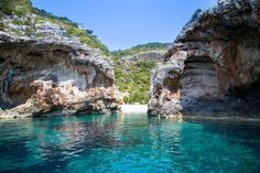 Croatia: Boat tour from Split to blue cave, other coves, green cave, and Hvar. About $120 per person for full day tour through Sugaman Tours. View of Stiniva Gates from Speedboat