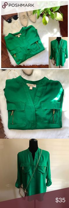 """MIchael Kors Jelly Bean Green Basics Blouse EUC Rich green blouse with gold zipper accents. MICHAEL Michael Kors. EUC. Can be 3/4 or long sleeves with the use of a button on the sleeve.  Make an offer! I will either accept or counter with my best  FREE SHIPPING on $50+ purchases. Must bundle for private offer to be sent! Discount cannot be given with """"offers"""" Michael Kors Tops Blouses"""