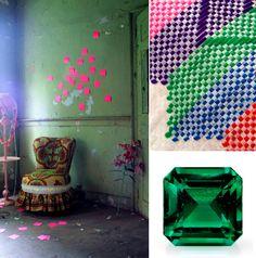 Emerald Moodboard: Africa meets Neon by Irina Graewe,  Zambian emerald gemstone and Langazela Cushion by Safari Fusion www.safarifusion.com.au