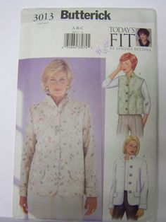 UNcut 2001 Butterick 3013 SANDRA BETZINA Jacket & Vest Pattern bust sz 32-34-36 by RaggsPatternStash on Etsy