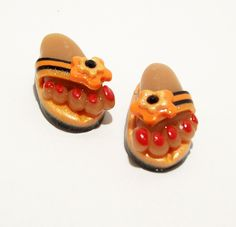Flip Flops - Handmade Polymer Clay BEADS with Feet by BarbiesBest on Etsy