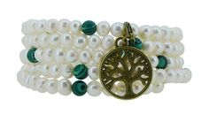 Freshwater Cultured White Pearls Imitation Malachite Wrap Bracelet with a Removable Charm ** Find out more details by clicking the image : Jewelry Trends