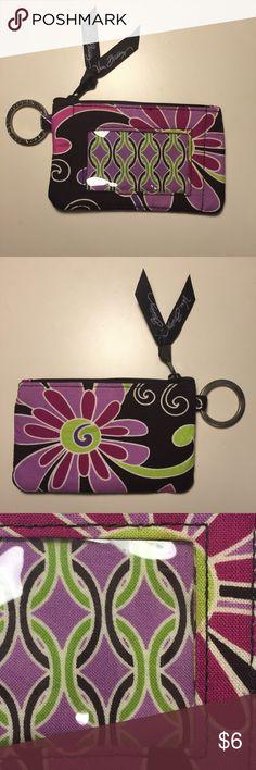Vera Bradley Clip Zip ID Great condition. Purple punch pattern. Vera Bradley Accessories Key & Card Holders