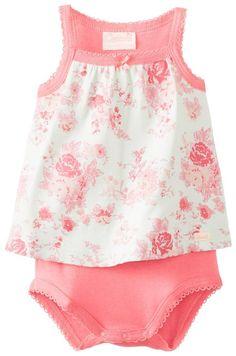 Coccoli Baby-Girls Newborn Desert Rose Flower Print Bodysuit, Multi, 1 Month