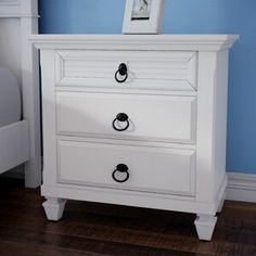 Discover the best coastal bedroom furniture sets for a beach home. Browse beach bedroom furniture sets like beds, headboards, dressers, and nightstands. 3 Drawer Nightstand, White Nightstand, Drawer Shelves, White Furniture, Bedroom Furniture, Furniture Ideas, Wood Bedroom, Nautical Furniture, Furniture Design