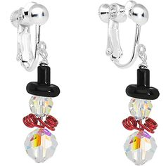 Handcrafted Gem Snowman Clip On Earrings MADE WITH SWAROVSKI ELEMENTS | Body Candy Body Jewelry #bodycandy