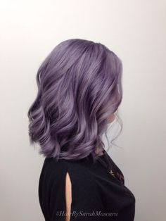 purple hair color | pastel | short hair | waves | wavy | curly | curls | silver | dyed | dip