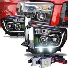 HID Xenon + WJ 2014-2015 Toyota Tundra Fiber-Optic LED DRL Projector Headlights - Black