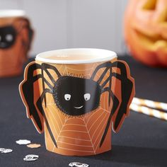 These Spooky Halloween Spider Handle Cups are sure to be a hit at a kids halloween party! - Spooky Spider at GingerRay.co.uk
