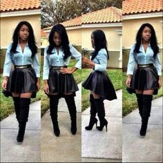 Love this, baby blue button up shirt, black skirt with knee high black heel boots  very cute outfit. #Womensfashion