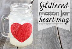 Glittered Mason Jar Heart Mug for Valentine's Day