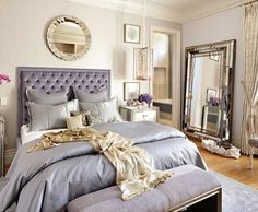 Like the hanging lamp above nite stand & the round mirror above bed