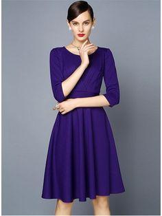 Teenloveme 2014 New Arrival Autumn/Spring Women's Elegant Round-neck Three Quarter Sleeves Full Skirt Mid Dress