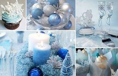 winterwonderland. Love the blue white and silver
