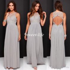 Cheap Grey Bridesmaid Dresses Long Chiffon Sheer Lace Open Back A-Line 2016 Plus Size Formal Evening Dresses Prom Gowns Maid of Honor Dress