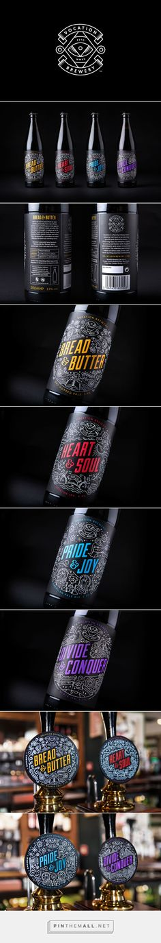 Vocation Brewery on Behance by Robot food curated by Packaging Diva PD. Love this fun colorful beer packaging. Black Packaging, Beverage Packaging, Bottle Packaging, Packaging Design, Food Packaging, Craft Beer Brands, Craft Beer Labels, Beer Label Design, Design Graphique
