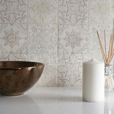 Moroccan Tile Effect Wallpaper | Grey, Beige, Cream & White