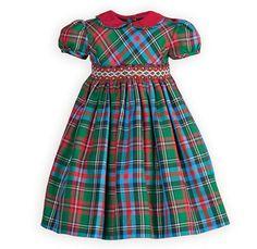 Plaid Hand-Smocked Infant Girls Dress