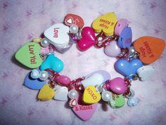 Conversation Heart Valentine Bracelet by beadiebracelet on Etsy