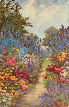 gagafashionanddreams: Bird Girl saved to Graphics City.path in centre leads to lawn flowers both sides lavender lower right blue delphiniums upper middle Aesthetic Painting, Aesthetic Art, Pretty Art, Cute Art, Ed Wallpaper, Cottage Art, Classical Art, Renaissance Art, New Wall