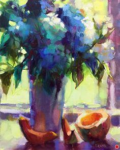 Hydrangeas and Cantaloupe by Trisha Adams Oil ~ 20 x 16