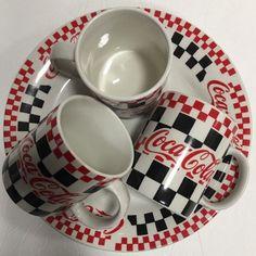 Vtg Gibson 1996 Red CoCa-Cola Diner Red Black Checks White Mugs & Dinner Plates #CocaCola