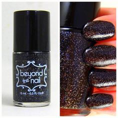 Silver Holographic Nail Polish in a Black Base on Etsy, $9.88 CAD